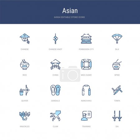 Illustration for Set of 16 vector stroke icons such as sai, training, claw, knuckles, tonfa, nunchaku from asian concept. can be used for web, logo, ui\u002fux - Royalty Free Image