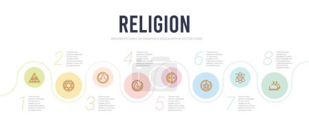 Religion concept infographic design template. incl...