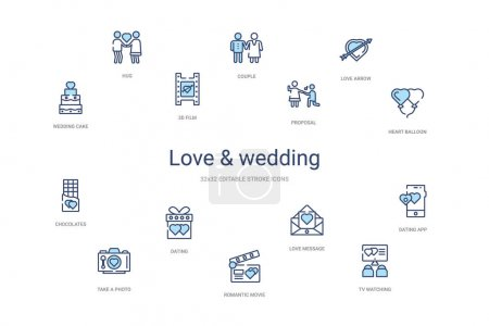 Illustration for Love & wedding concept 14 colorful outline icons. 2 color blue stroke icons - Royalty Free Image