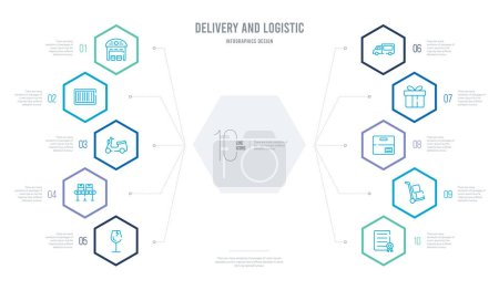Illustration for Delivery and logistic concept business infographic design with 10 hexagon options. outline icons such as certificate, trolley, package, gift, delivery truck, conveyor - Royalty Free Image