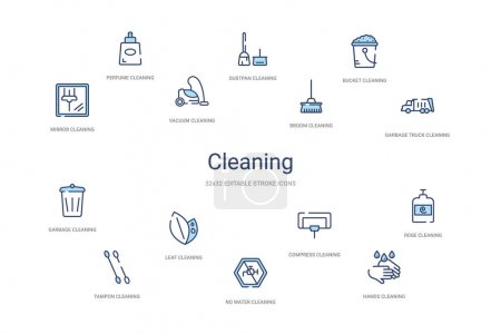 cleaning concept 14 colorful outline icons. 2 color blue stroke