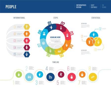 conception infographique du concept de personnes. informationnel, chronologique ,