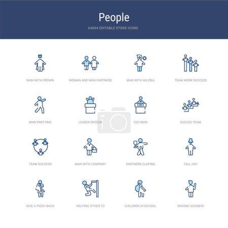 ensemble de 16 icônes vectorielles de course telles que saluer au revoir, enfants i