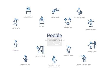 concept de personnes 14 icônes de contour coloré. 2 couleur bleu AVC ic