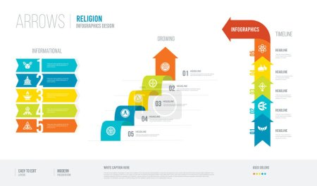 Arrows style infogaphics design from religion conc...