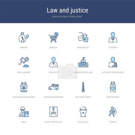 Illustration pour Ensemble de 16 icônes d'AVC vectoriel telles que cadavre, passe-montagne, certificat de décès, swat, gaz poivré, couteau papillon de la loi et du concept de justice. peut être utilisé pour le web, le logo, ui \ u002fux - image libre de droit
