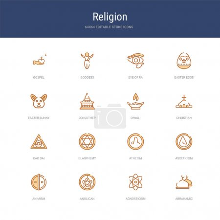 Set of 16 vector stroke icons such as abrahamic, a...