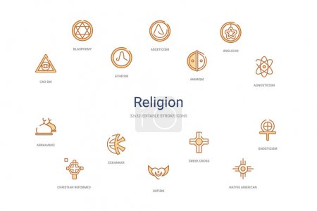 Religion concept 14 colorful outline icons. 2 colo...