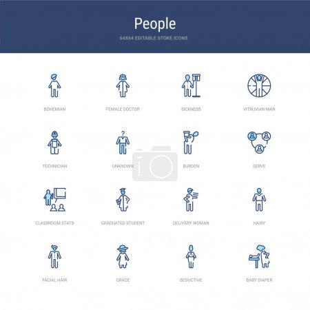 conjunto de 16 iconos de trazo vectorial como pañal de bebé, seductor, gr