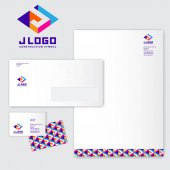 J logo J monograms Colored three-dimensional J letter with a white background Identity Letterhead envelope pattern and business card