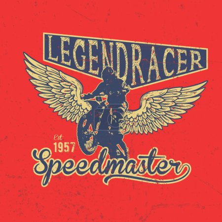 Illustration for Legend Motorcycles Club Vintage Racers T-Shirt Design. Easy to manipulate, re-size or colorize. - Royalty Free Image