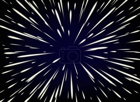 Illustration for Vector abstract background with Star Warp or Hyperspace with free space in the center, light of moving stars concept. - Royalty Free Image