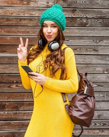 Cool girl with headphones