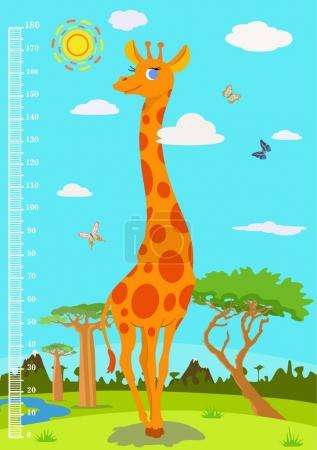 Scale with a giraffe to measure the growth of children. Vector