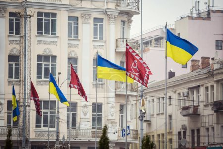 Vinnitsa, Ukraine - November 11, 2015. Flags on Central street in Vinnitsa, Ukraine, view of the city with the buildings in Vinnitsa