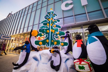 Vinnitsa, Ukraine - November 26, 2016.Central street in Vinnitsa, Ukraine, view of the city with the  buildings in Vinnitsa.Penguins near the Christmas tree