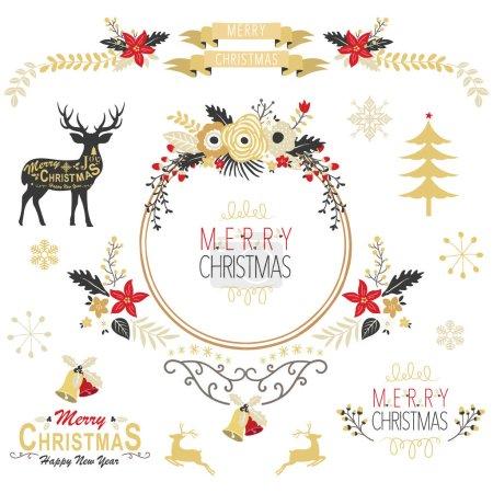 Illustration pour Une illustration vectorielle de Vintage Gold Christmas Elements. Parfait pour Noël, carte de voeux, bonne année, célébration, et bien plus encore - image libre de droit
