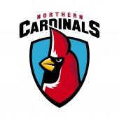 Northern cardinal sport logo angry bird team shield mascot