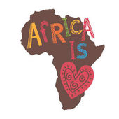 heart sign and inscription on map of Africa