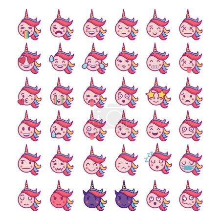 Illustration for Emotional Unicorn Face Icons on isolated on white background - Royalty Free Image