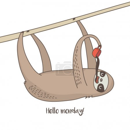 Illustration for Cute sloth with coffee and hello monday inscription - Royalty Free Image