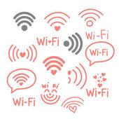 Wi Fi icons set vector illustration