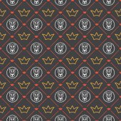 Vector seamless pattern with crowns and lions Can be used for wallpaper pattern fills web page backgroundsurface textures