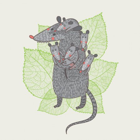 Cartoon opossum mother with kids