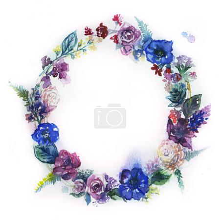 Photo for Watercolor Flower Wreath. Floral Wreath. Painted Flower Wreath. - Royalty Free Image