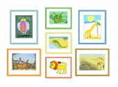 Illustration with the image of colored children's drawings of animals in frames hung on the wall
