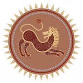 Color image of a stylized lion in the ethnographic style