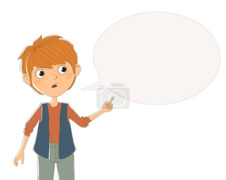 Illustration for Isolated color illustration with the image of a standing red-haired boy in grey jeans, a brown jumper, a blue vest that says something and points his hand on a gray bubble for text. - Royalty Free Image