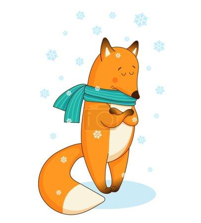 Illustration pour Triste petit renard dans l'écharpe verte debout dans la neige, rétréci par le froid . - image libre de droit