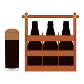Wooden box with beer bottles and glass of beer with foam and bubbles Vector isolated drawing Icon in flat style