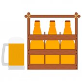 Wooden box with beer bottles and glass beer mug with foam and bubbles Wooden crate with bottles of beer Vector isolated drawing Icon in flat style