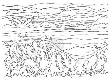 Photo pour Image en noir et blanc, coloriage, dessin linéaire, graphiques. Paysage. Pour la coloration. L'image de la nature. Mer, vagues, oiseau, mouette, ciel, nuages, vent, frais, mouvement, vol, éclaboussure . - image libre de droit