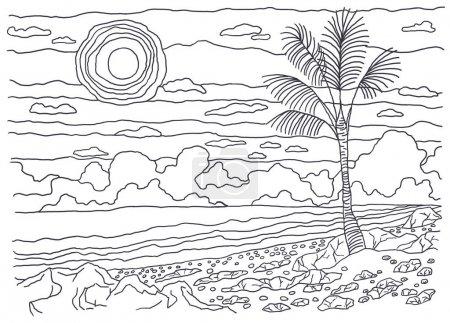 Photo pour Image en noir et blanc, coloriage, dessin linéaire, graphiques. Paysage. Pour la coloration. L'image de la nature. Côte, pierres, sable, palmiers, soleil, ciel, nuages, mer, eau . - image libre de droit