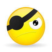 Pirate emoji Discontent emotion Angry emoticon Cartoon style Vector illustration smile icon