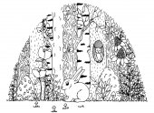 Vector illustration zentangl hare in the forest Doodle drawing Meditative exercises Coloring book anti stress for adults Black white