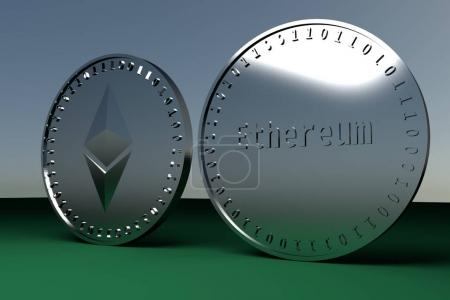 Two coins of digital crypto currency Ethereum standing on the edge, 3d rendering.