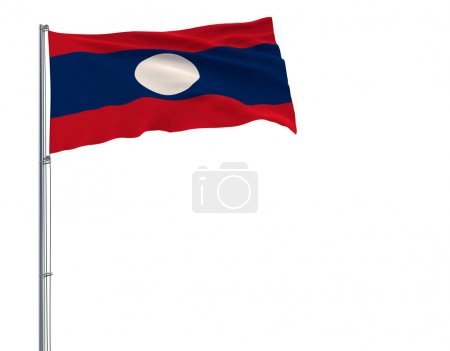 Isolate flag of Laos on a flagpole fluttering in the wind on a white background, 3d rendering.