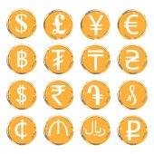 Sixteen yellow-gray vector grunge icons with white images of modern currency symbols of various countries for exchange offices