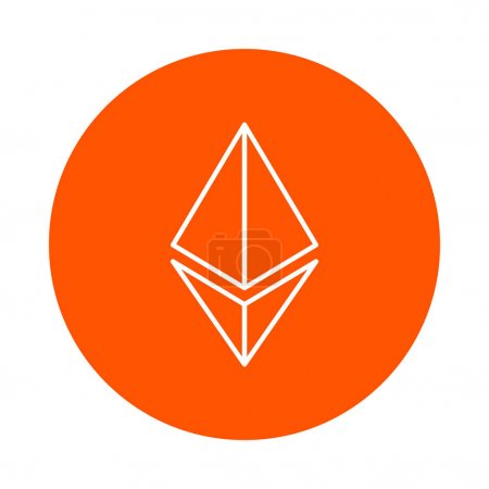Symbol of the ethereum crypto currency, vector monochrome round icon, flat style.