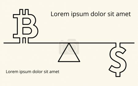 Vector linear background with images of the symbol of digital cryptocurrency bitcoin, dollar currency symbol and stylized weights, for your presentation, flyer or site