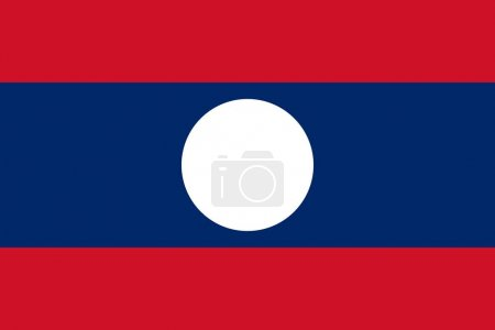 Flag of Laos official colors and proportions, vector image.