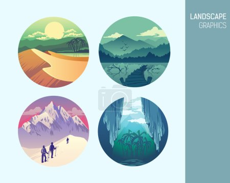 Illustration for Set abstract circle vector landscape graphics - Royalty Free Image