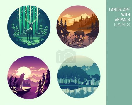 Illustration for Set abstract circle vector landscape with animals graphics - Royalty Free Image