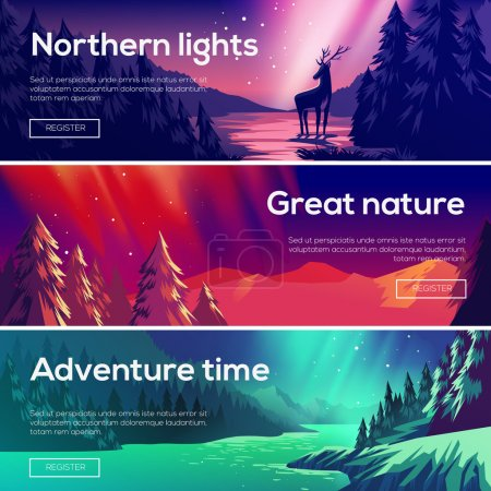 Illustration for Design illustration for web design development. View of the forest, the mountains , the northern lights. - Royalty Free Image