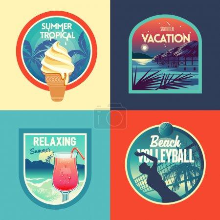 Ilustración de Vacaciones de verano conjunto de etiquetas y escudos - Imagen libre de derechos