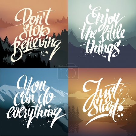 Hand-drawn lettering on nature backgrounds